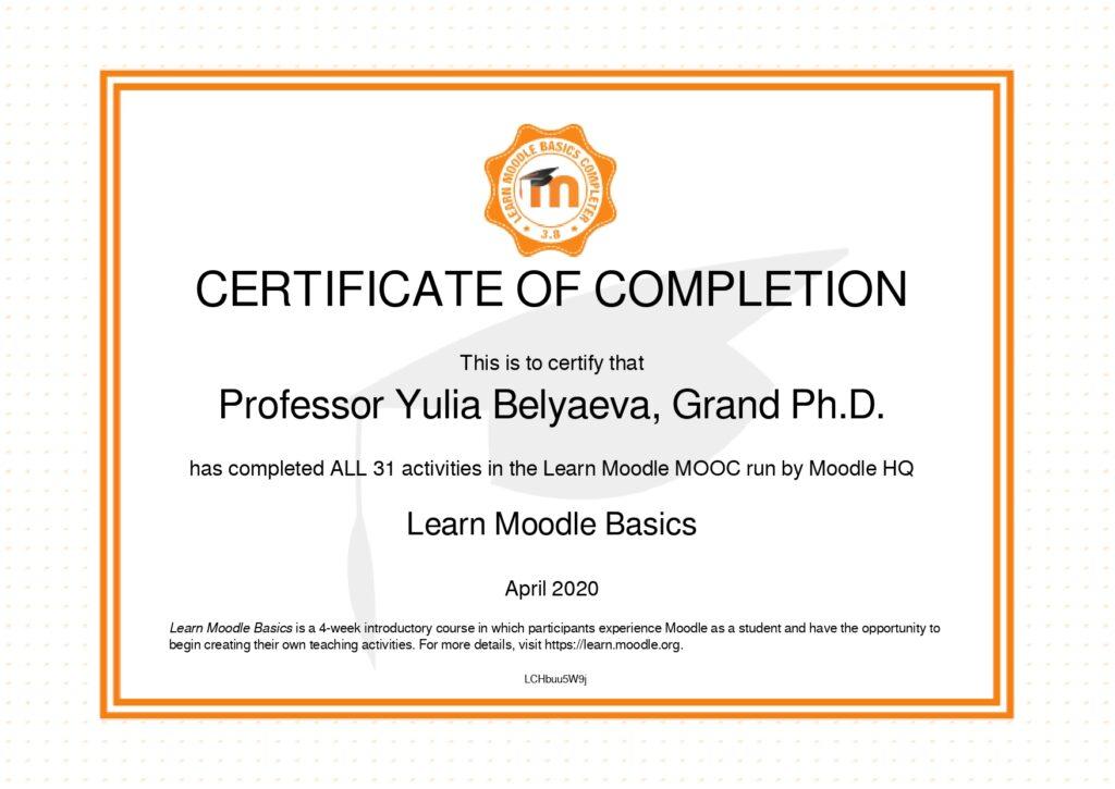 Сертификат Преподавателя Moodle Экологическая Академия Дистанционное Обучение по Экологической Безопасности